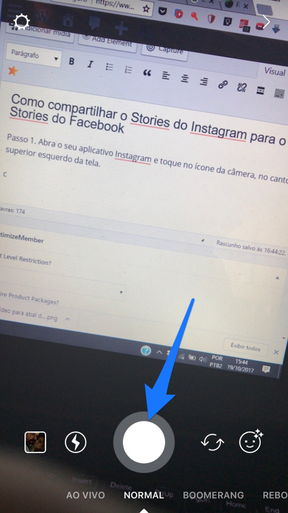 Como compartilhar Stories do instagram para o facebook - Passo 02